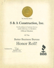 Better Business Bureau Honor Roll